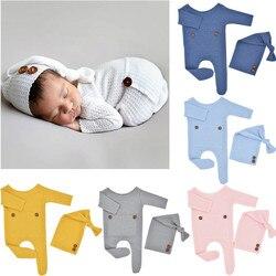 2 Pçs/set Chapéu Romper Do Bebê Adereços Fotografia de Recém-nascidos Macacão de Malha Cap Cauda Longa Crianças Kit Foto Tiro Roupas Outfits