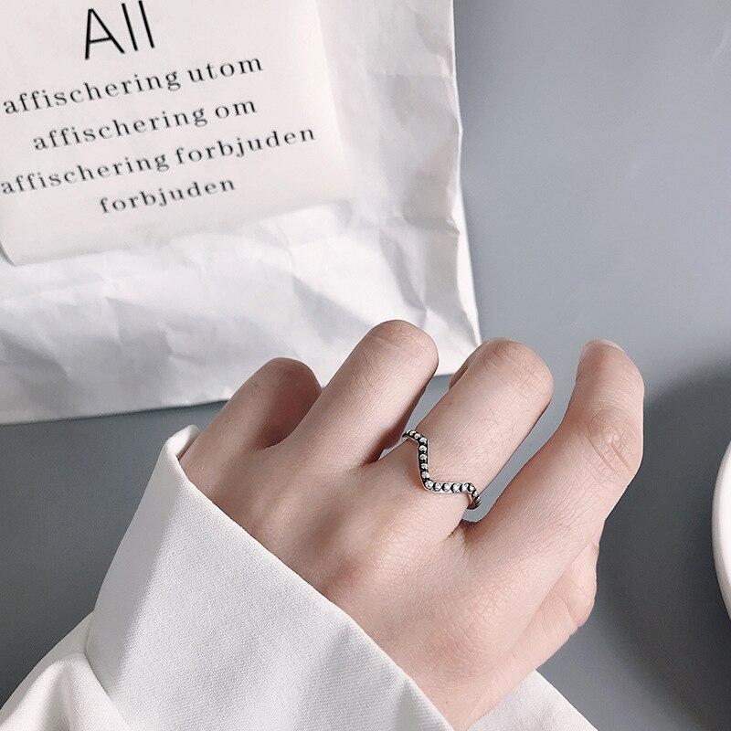 Кольцо из чистого серебра 925 пробы с v-образным вырезом для женщин, повседневная одежда, винтажное