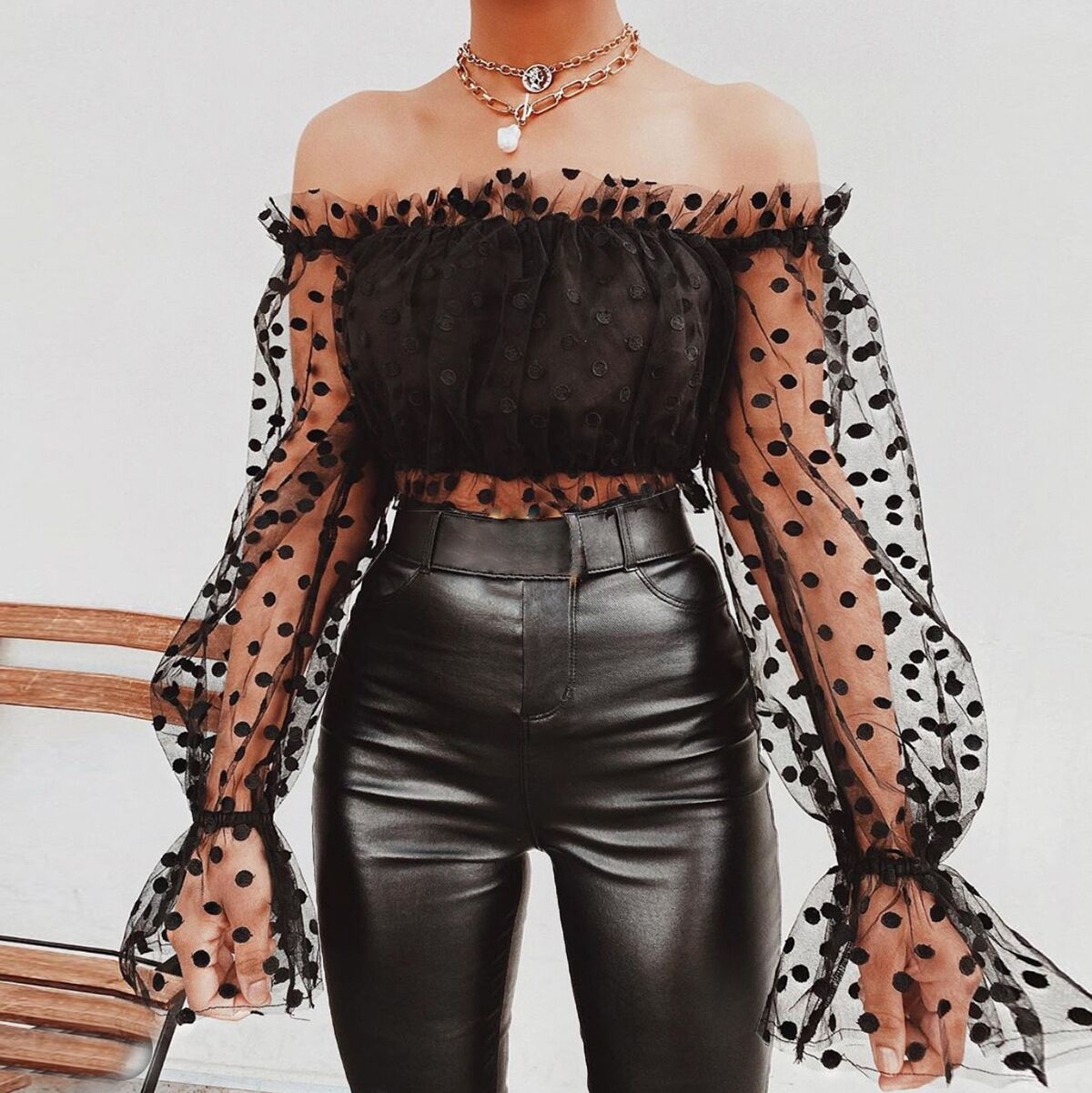 Polka Dot Larten Sleeves Off Shoulder Crop Tops Blouse See Through Mesh Tulle Patchwork Sexy Clubwear Night Date Out For Women
