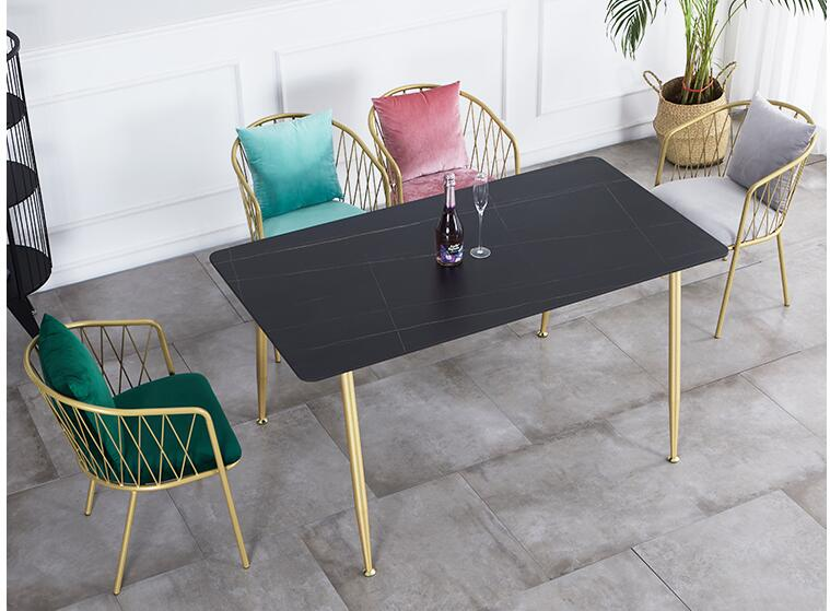 Household small apartment net red luxury marble dining table chair combination tea shop coffee shop leisure rectangular fast 1