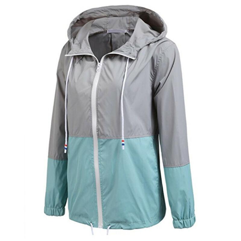 Summer Autumn Womens Fashion Outerwear Windbreaker Woman Waterproof Rain Thin Jacket Zipper Hooded Casual Sporting Coat Big Size