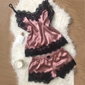 Женское пикантное Белье для сна и отдыха, шелковая атласная ночная рубашка, модная свободная кружевная одежда для сна, халат, летние Ночные ...