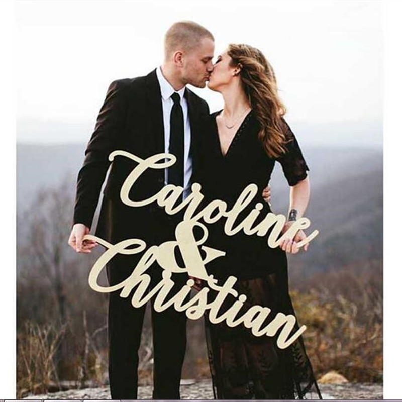 Custom Bride And Groom Wooden Sign Photo Props Sign Bridal Shower Party Decorations Personalized Wedding Gift Wood Name Sign