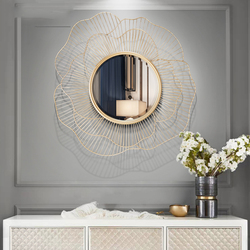 Moderne Schmiedeeisen Wand Dekorative Spiegel Dekoration Handwerk Wand Hängen Ornament Hause Wohnzimmer 3D Stereo Wand Aufkleber Wandmalereien