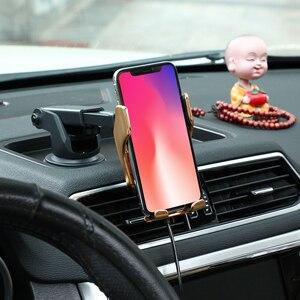Image 3 - R1 R2 otomatik sıkma 10W araç kablosuz şarj kızılötesi indüksiyon Qi kablosuz şarj araba telefon tutucu araba şarjı için
