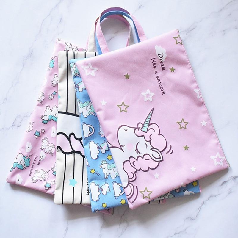 Fashion Creative Unicorn A4 File Folder Bag Zipper Oxford Bra Bag Student Bag Stationery Student Stationery File Storage Bag