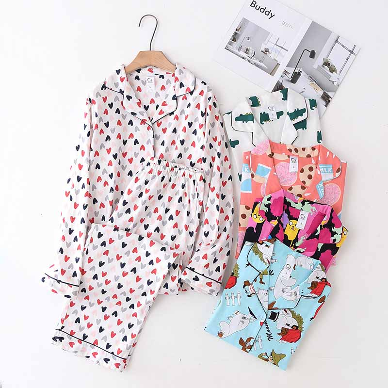 2019 New Ladies Full Cotton Pajamas Set For Spring And Autumn Turn-down Collar Cardigan+Pants Comfort Loose Women Homewear Set