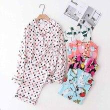 2020 New Ladies Full Cotton Pajamas Set For Spring And Autumn Turn down Collar Cardigan+Pants Comfort Loose Women Homewear Set