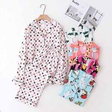 Conjunto de pijamas de algodón para mujer, cárdigan con cuello vuelto y pantalones, conjunto de ropa de casa holgado y cómodo, para primavera y otoño, 2020