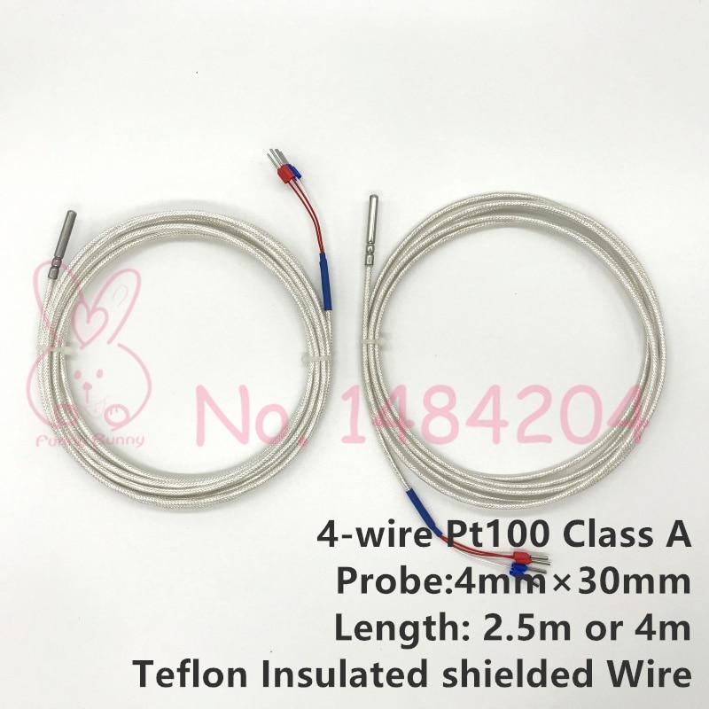 PT100 Temperature Sensor Silicone Cable Lengths 1M 2M 3M 5M Resistance Probe