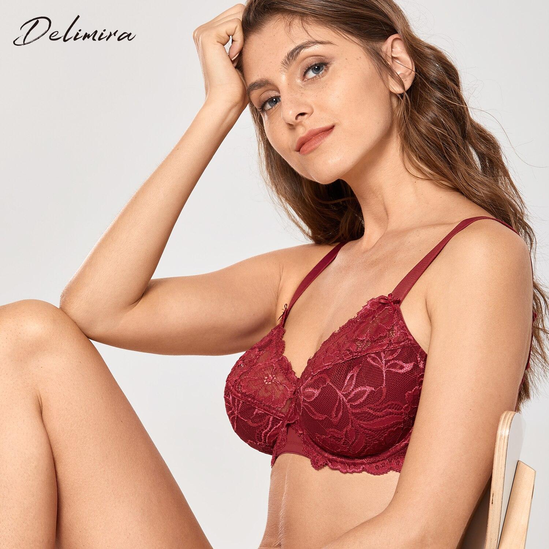 DELIMIRA Femme Soutien-Gorge Grande Taille Minimiseurs sans Armatures Non Rembourr/é