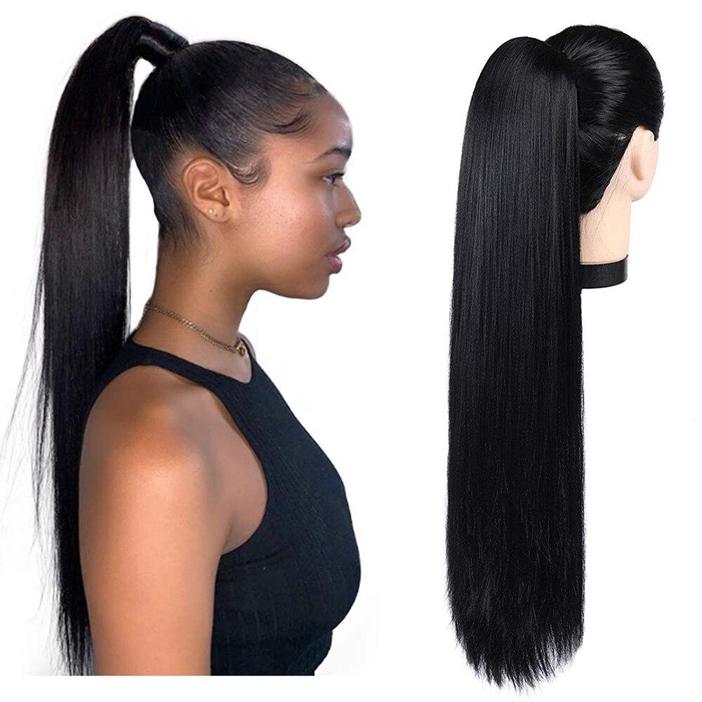 Extensions queue de cheval à enrouler, cheveux naturels, lisses, avec cordon de serrage