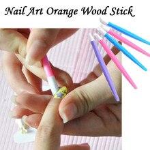 1 шт. дизайн ногтей оранжевая пластиковая палочка палочки для отодвигания кутикулы Педикюр Маникюрный Инструмент Y40