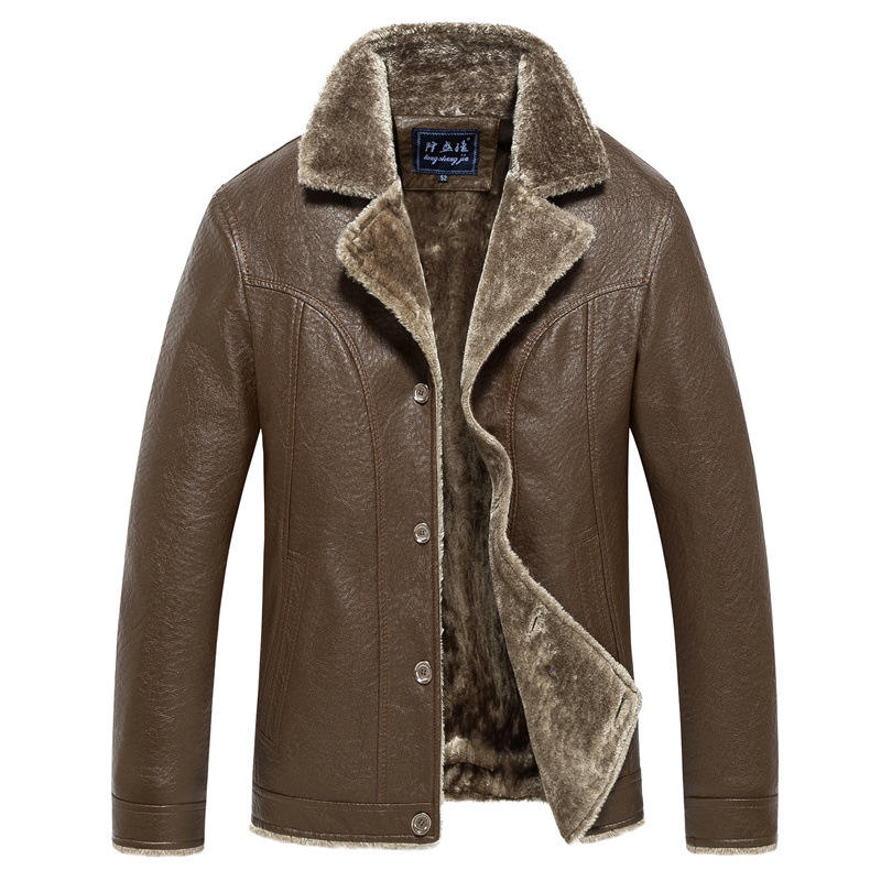 Winter New Style Middle-aged Business Leather Coat Men Fur Jacket Motorcycle Men's Winter Thick PU Leather