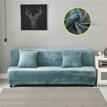 Housse extensible pour canapé lit en peluche, sans accoudoir, pour salon, automne/hiver
