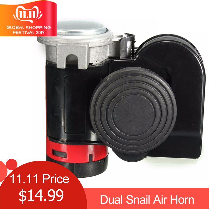 12V 139dB Black Snail Compact Dual Air Horn sound signal Car Train for Vehicle Motorcycle Yacht Boat SUV Bike