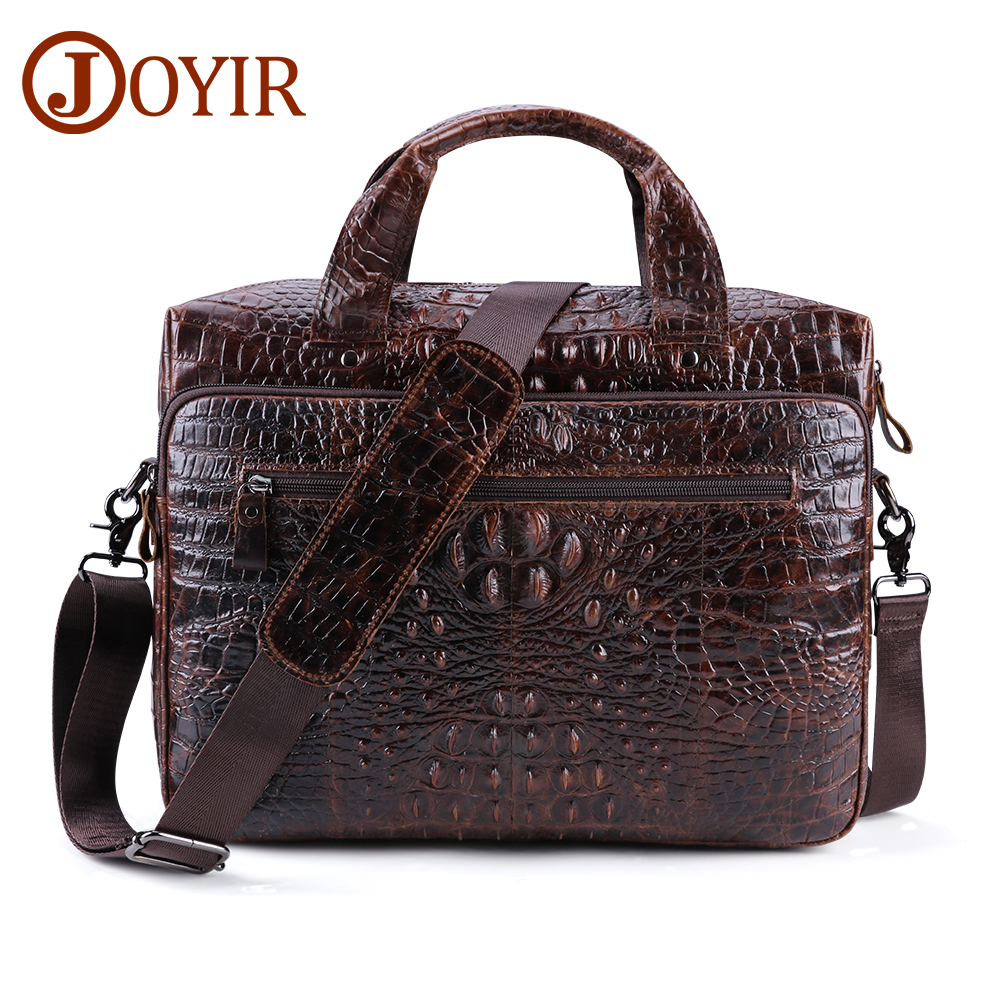 JOYIR Men's Briefcase Genuine Leather Bag For Men Leather 15.6