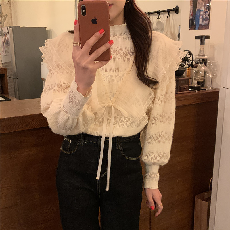 H3aee6132027e4ccba227fcf0dbc09014J - Spring / Autumn Stand Collar Long Sleeves Ruffles Lace-Up Blouse