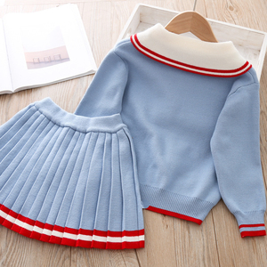 Image 3 - ユーモアクマ女の子の服のスーツ秋冬新カレッジスタイルの女の子セーター + スカートセット 2 6t 2019 子供の服