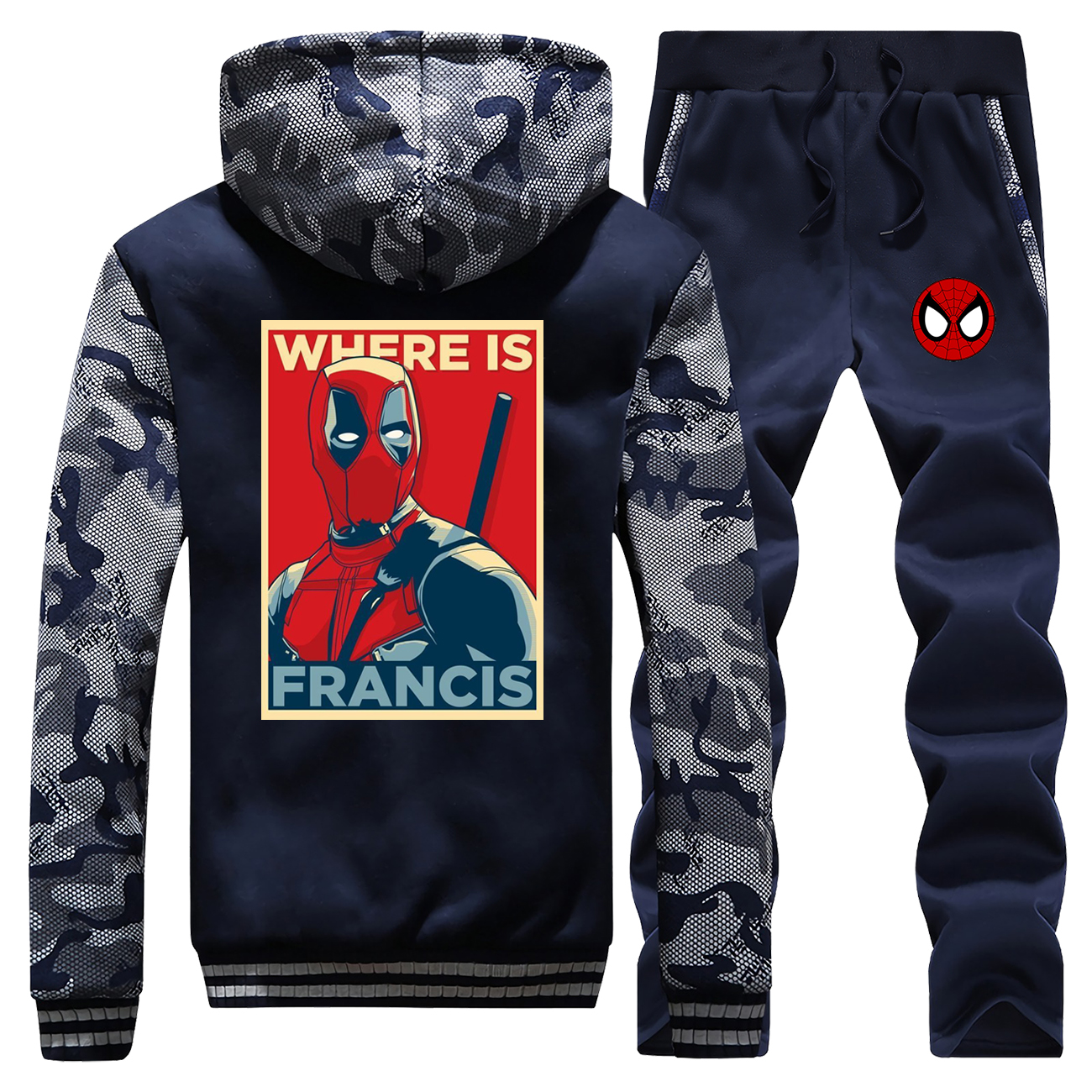 Spider-Man Sportsman Wear Casual Warm Fleece Male Set Deadpool Man Set Where Is Francis Camo Hoodies Set 2019 Winter Hick Jacket
