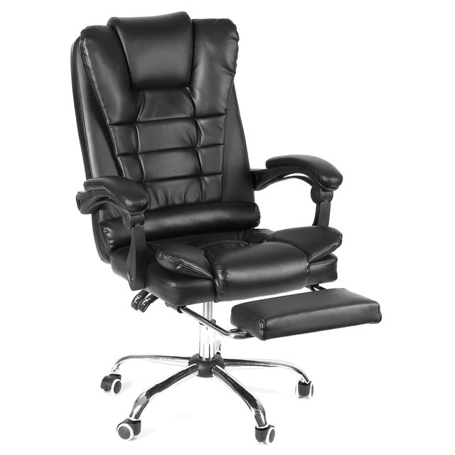 Reclining Office Chair Adjustable Rotating Lift Pu Leather Gaming Chair Armchair With Footrest For Home Office Furniture Office Chairs Aliexpress