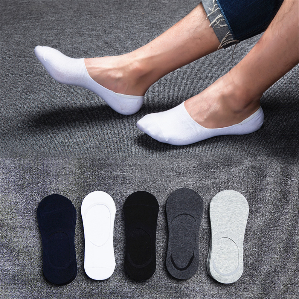 Follow The Foot Sport Socks Men Running Invisible Socks Men 5 Pair Anti Slip Socks Men Silicone Solid Color Unisex Summer Socks