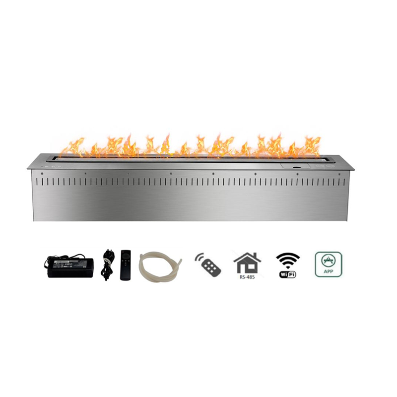 48 Inch Long Silver Or Black Intelligent  Wifi Remote Control Ethanol Fireplace Fire