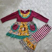 Outono inverno combinando roupa da menina do bebê remake crianças outfit criança menina boutique roupa de natal conjunto roupas de inverno