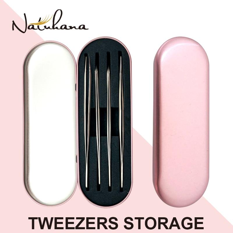 NATUHANA Professional Tweezer Storage Box For Eyelash Extension Tweezer Organizer Case Eyelashes Eyeliner Pencil Case MakeupTool