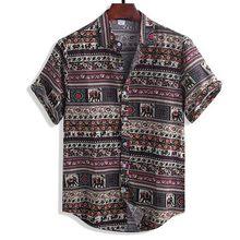 Hommes T-shirt Vintage Mode D'été Décontracté Manches Courtes t-shirt Ethnique Style Hawaïen En Lin Coton Streetwear Vêtements Camisa