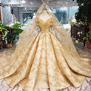 Image 1 - HTL313黄金のウェディングドレス2020でベールvネッククリスタルタッセル王女ブライダルドレスアップリケボールガウン