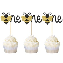 12pcs Honeybee Baby Wild One Cupcake Toppers Baby Shower Cake Topper Birthday Party Cupcake Decor Cake Supplies  Free Shipping free shipping baby twins angel pearls figures resin toy vivid lifelike cute cake home office car decor baby shower party gifts