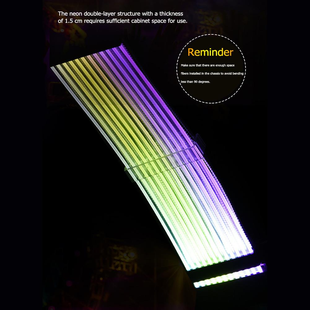 <font><b>24Pin</b></font>+8Pin Neon RGB PSU Line Power <font><b>Extension</b></font> Adapter <font><b>Cable</b></font> for PC Case Mainboard a Dazzling Rainbow On The Motherboard image
