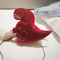 Cute cartoon laser dinosaur funny shoulder diagonal women's bag