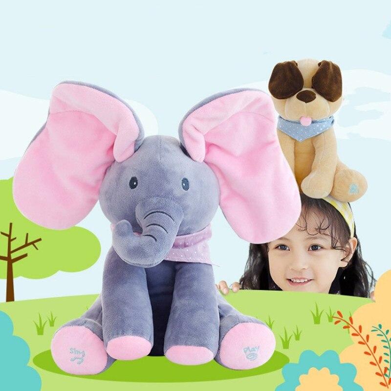 elefante cinzento brinquedo eletrico orelhas mover musica bebe elefante esconder e procurar gato calmante boneca elefante