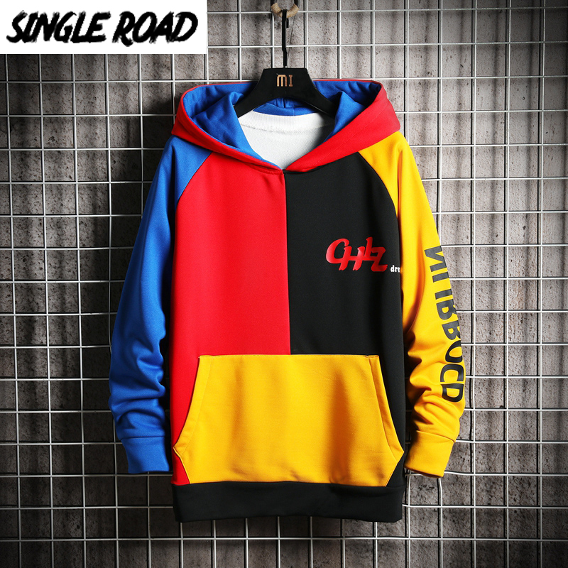 SingleRoad Men's Hoodies Men 2020 Patchwork Colorblock Sweatshirt Male Japanese Streetwear Harajuku Hip Hop Yellow Hoodie Men