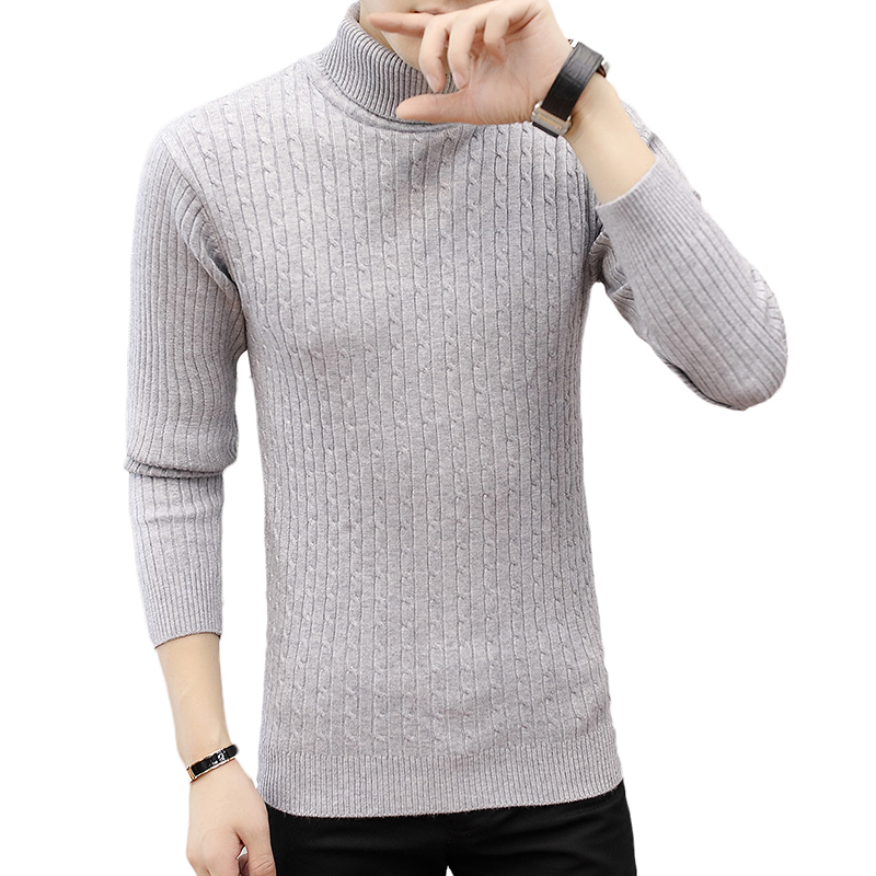 Sweater Pullover Men Nice Male VogueSolid Color Knitt Simple Sweaters Men Comfortable Hedging Turtleneck Men Sweater