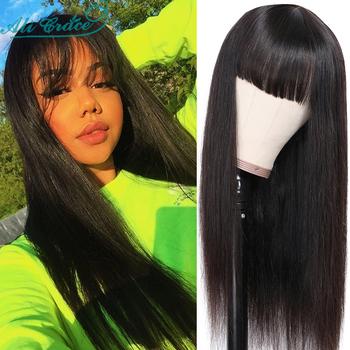Ali Grace peruki tanie brazylijskie peruki z prostymi włosami z przypinana grzywka 10-26 'włosy peruki pełna maszyna wykonane peruki z ludzkich włosów dla kobiet tanie i dobre opinie Remy włosy Proste Brazylijski włosy Średnia wielkość Średni brąz Wszystkie kolory