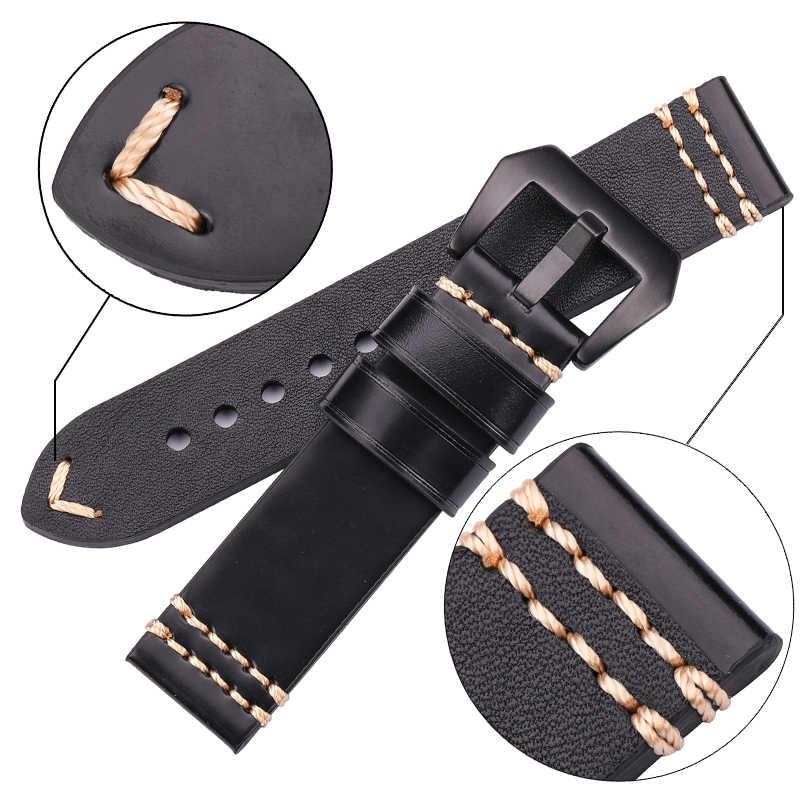 Watchbands جلد طبيعي حزام (استيك) ساعة حزام 20 مللي متر 22 مللي متر 24 مللي متر الأسود البني الأزرق الأصفر النساء الرجال جلد البقر سوار ووتش اكسسوارات