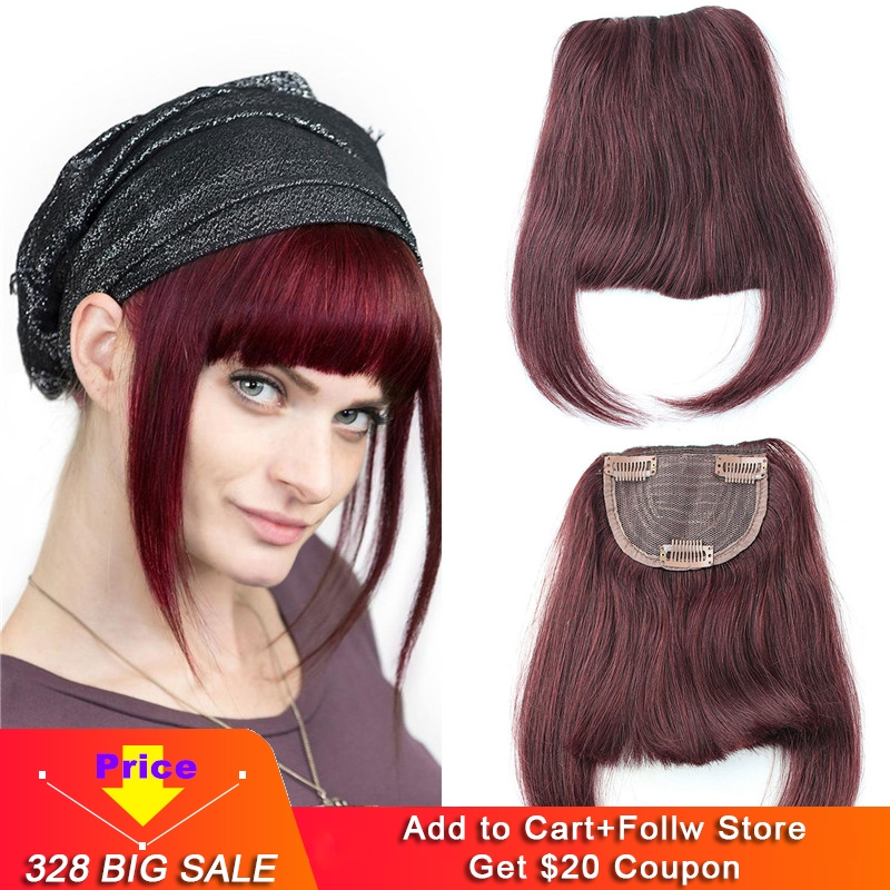 99J Wine Red Brazilian Human Hair Clip-in Hair Bang Full Fringe Short Straight Hair Extension For Women 6-8inch
