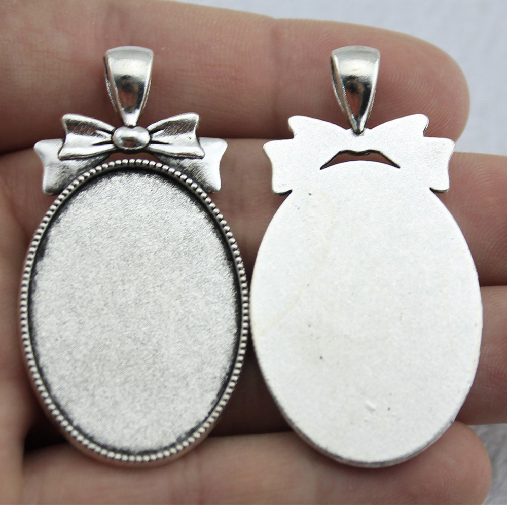5pcs 25x35mm Inner Size 51x27mm Outer Size Vintage Antique Silver Color Bow Oval Shape Cameo Cabochon Base Setting