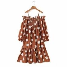 Midi-Dress Loose-Clothes Vestido Casual Women Dot D6617 Suspender Lantern-Sleeve Slash-Neck
