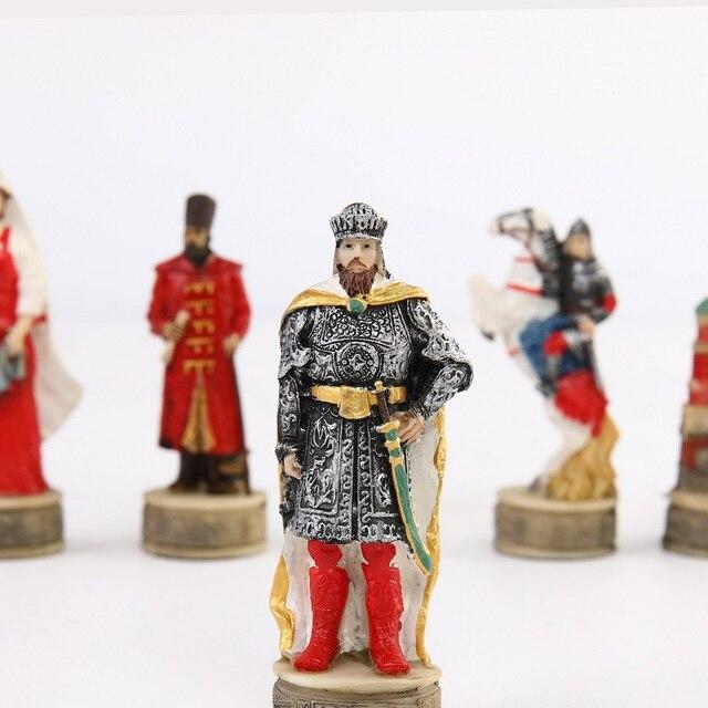 Jeu d'échecs avec personnages en en résine thème de guerre russe mongolie (guerre de la principauté de Ross) 3
