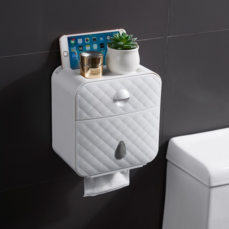 Multifunctional Toilet Paper Holder Waterproof Wall Mounted Toilet Paper Box Toilet Paper Holder Toilet Paper Storage Box