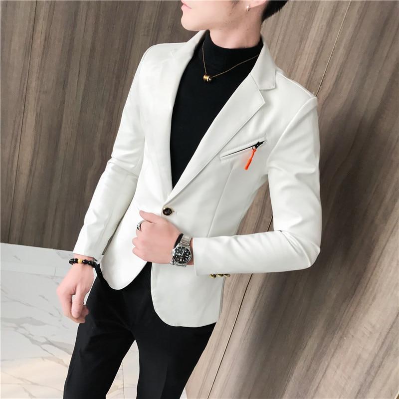 4 Colors M-3XL Mens DJ Jackets PU Leather Long Sleeve Autumn Winter Men Blazer Slim Fit Streetwear Mens Suit Jacket Blazers Male