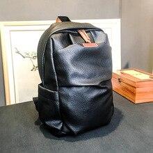 New Korean mens shoulder bag trendy retro PU leather leisure fashion travel large-capacity backpack