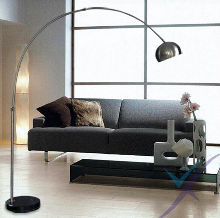 Nordic E27 Chrome Black Marble LED Folding Rotary Arc Floor Lamp For Office Work And Study Home Decor Floor Lighting