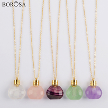 BOROSA Clear Crystal Essential Oil Bottle Pendant Necklace Fluorite Amethysts Perfume Bottle Pendant Necklace for Women G1978 недорого