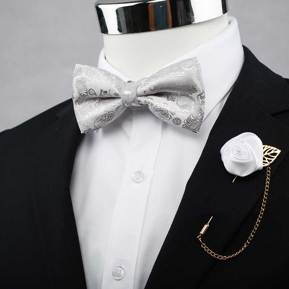 Wesele klasyczne czerwone męskie regulowany Bowtie zestawy z chusteczka Neckwear mężczyzna elegancki smoking jedwabiu muszki dla koszula