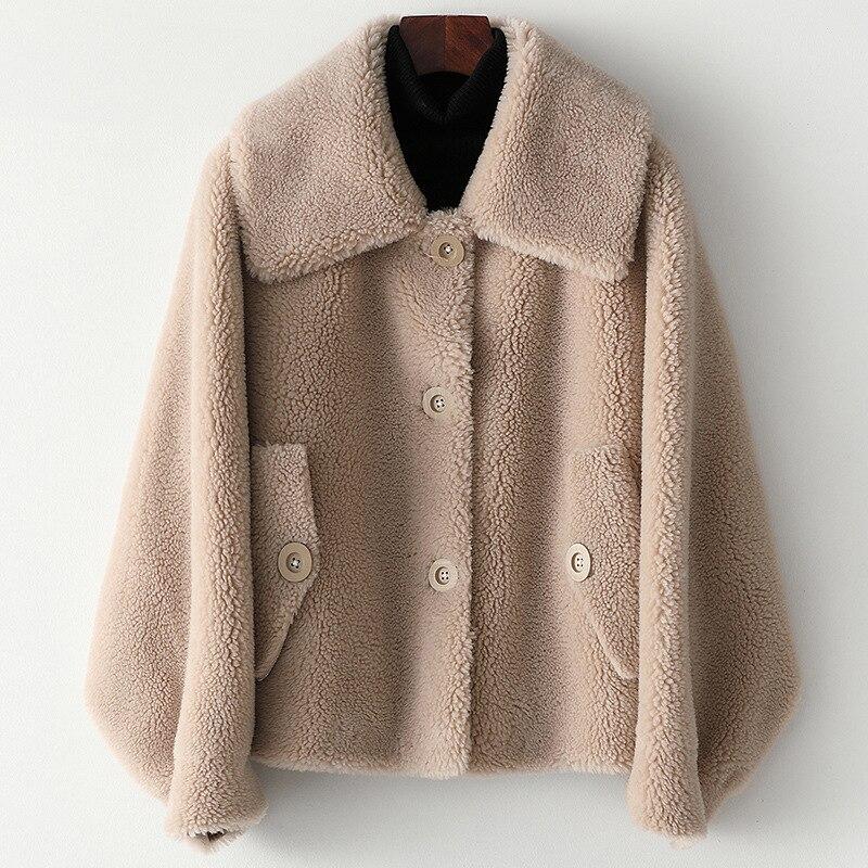 Warm Fur Winter Coat Casual Wool White Overcoat Outerwear Fasion Sheepskin Women Jackets Real Fur Thick Turn-down Collar Coat
